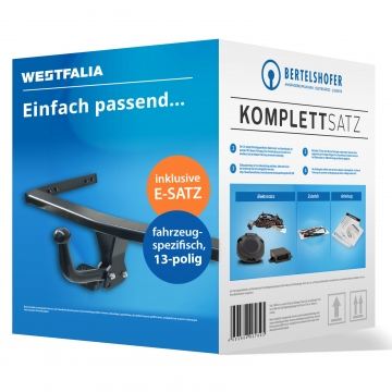 Komplettsatz: AHK und 13 pol. E-Satz für VW Polo Fliessheck ( 05.2005 - 05.2009 ) inkl. Einbau