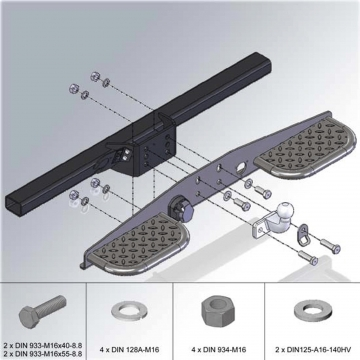 Trittbrett für Kupplungen mit 2-Loch-Flansch